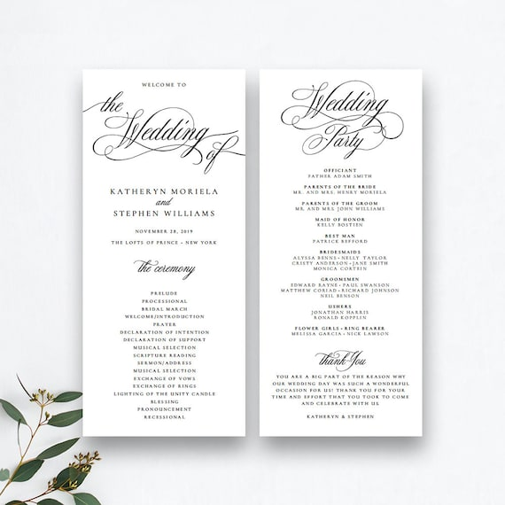 Wedding Ceremony Programs.Classic Elegant Wedding Programs Template Wedding Ceremony Programs Templates Printable Wedding Programs Template Diy Wedding Program