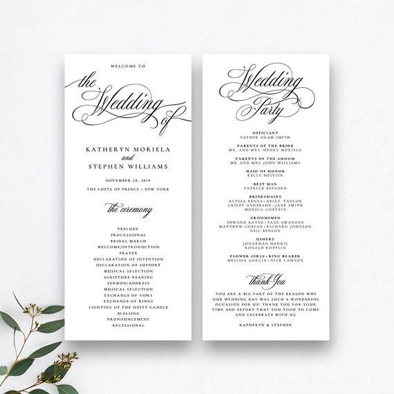 Wedding Ceremony Program Template | Classic Elegant Wedding Programs Template Wedding Ceremony Etsy