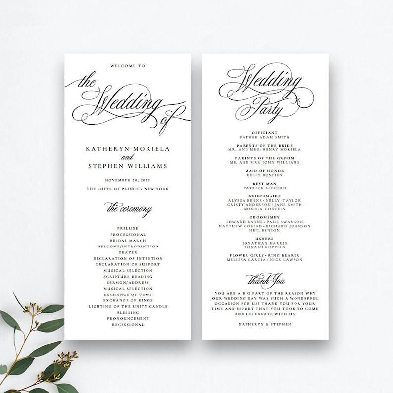 Wedding Ceremony Program Template.Classic Elegant Wedding Programs Template Wedding Ceremony Programs Templates Printable Wedding Programs Template Diy Wedding Program