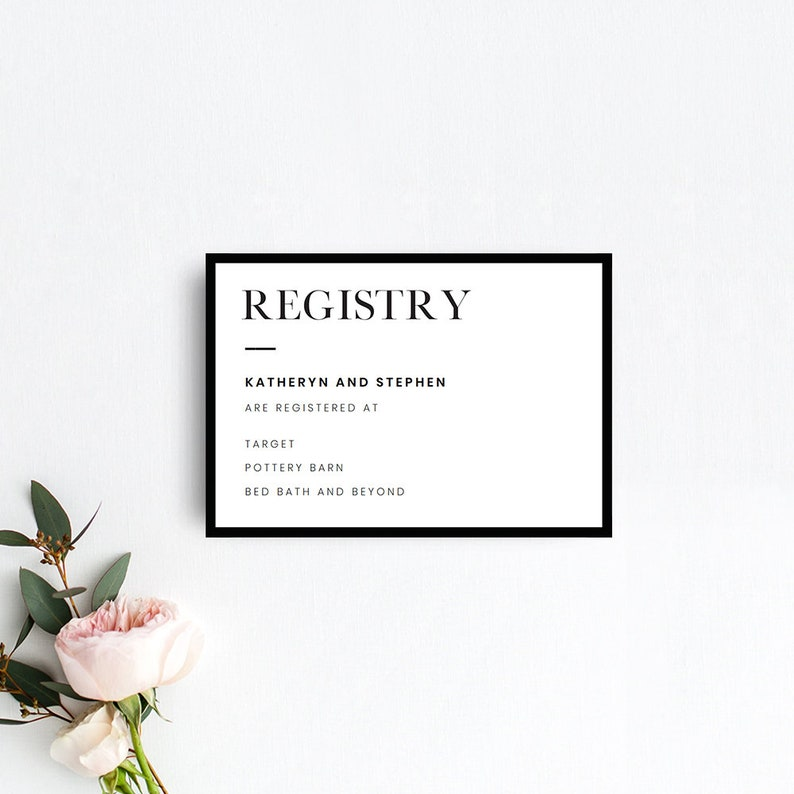 image regarding Printable Pottery Templates named Minimalist Marriage ceremony Registry Card Templates, Printable Marriage Registry Card, Present Registry Card, Ground breaking Black Border Registry Card Templates