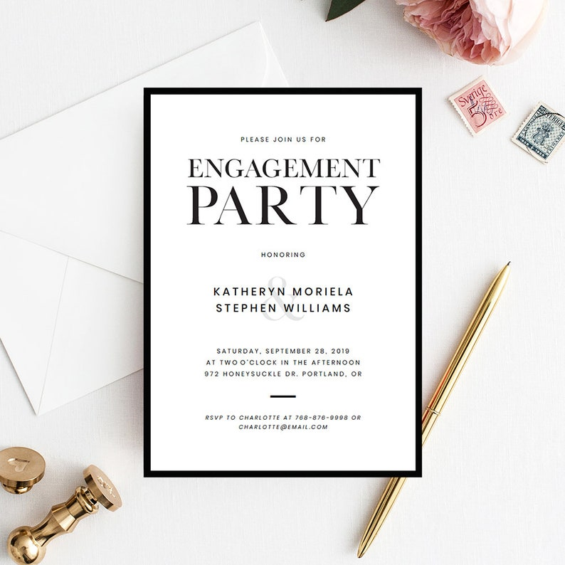 Minimalist Engagement Party Invitation Templates Printable Invitations Modern Black Border