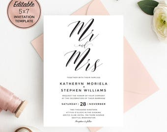 Mr. and Mrs. Wedding Invitation Card Template Download, Calligraphy Wedding Invitation Template, Printable Invitation PDF Instant Download.