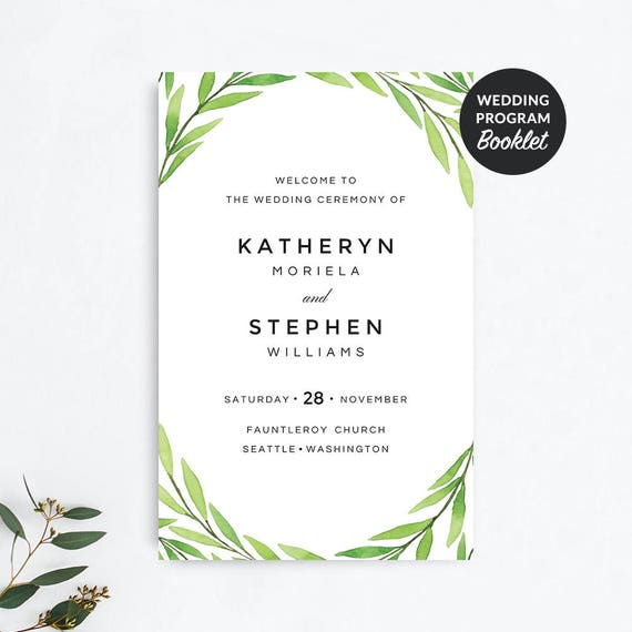 wedding programs printable wedding programs booklet template etsy