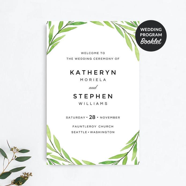 Wedding Programs, Printable Wedding Programs Booklet Template, Leafy  Greenery Wedding Programs, Folded Wedding Program Ceremony Printable