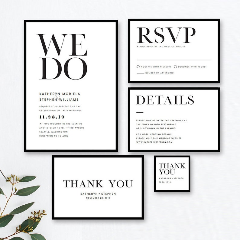 Minimalist Wedding Invitation Templates Modern Black White Etsy