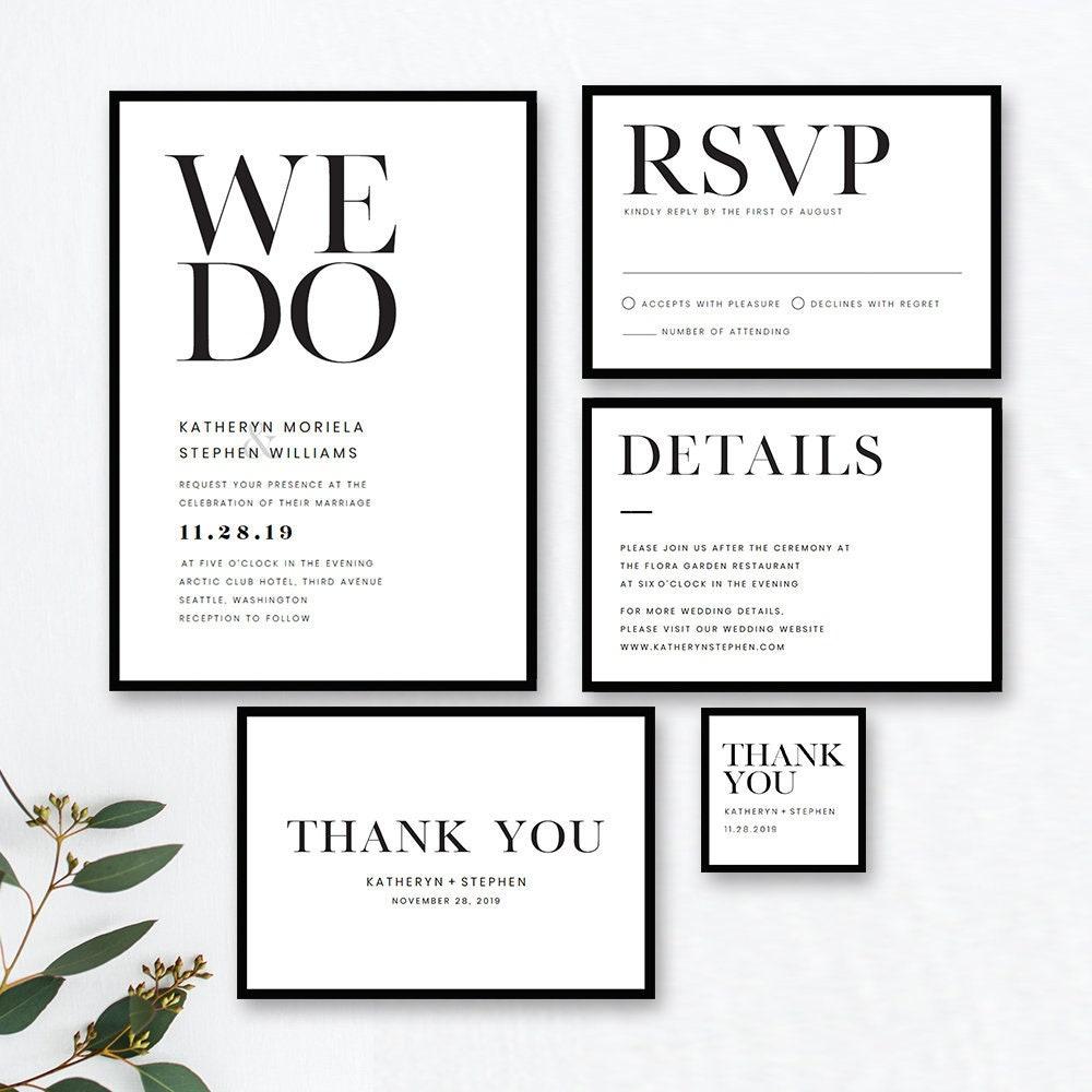 Wedding Invitation Templates: Minimalist Wedding Invitation Templates. Modern Black