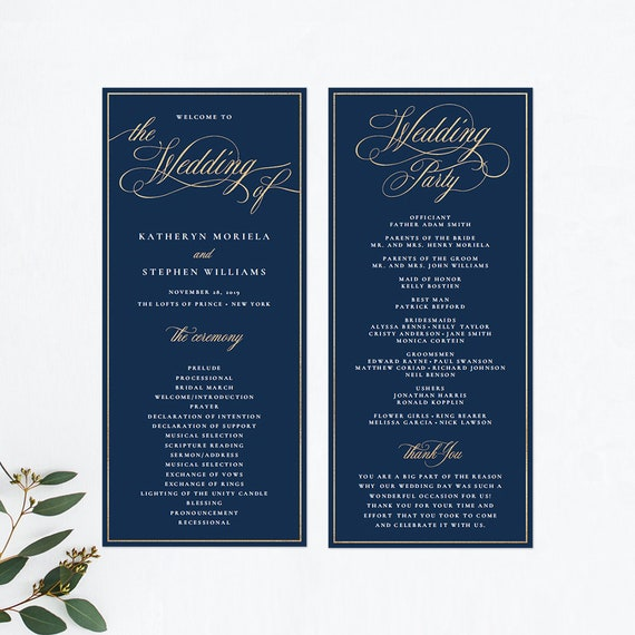 Navy Blue Gold Wedding Program Templates Wedding Ceremony Etsy