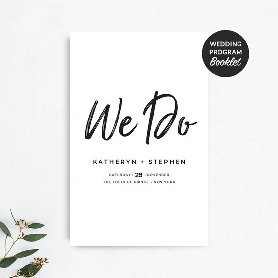 printable wedding program booklet templates diy rustic etsy