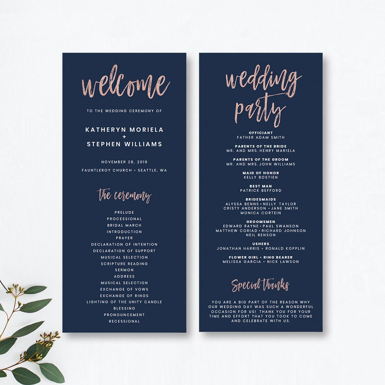 Wedding Ceremony Programs.Navy Blue Rose Gold Wedding Programs Templates Modern Wedding Ceremony Programs Templates Printable Church Wedding Programs Templates