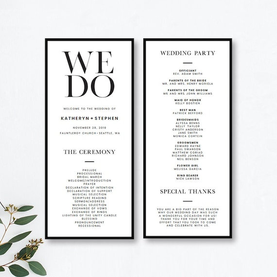 Minimalist Wedding Program Templates Printable Minimal Wedding Ceremony Program Templates Modern Simple Wedding Program Templates