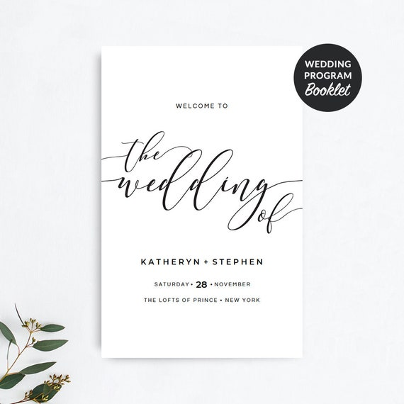 wedding program booklet template printable rustic wedding etsy