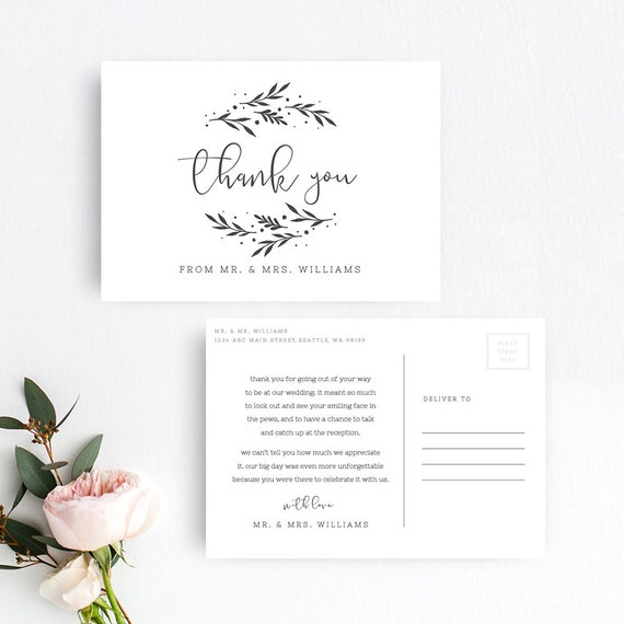 wedding thank you postcard template rustic wedding thank you postcard templates printable thank you postcard pdf template instant download