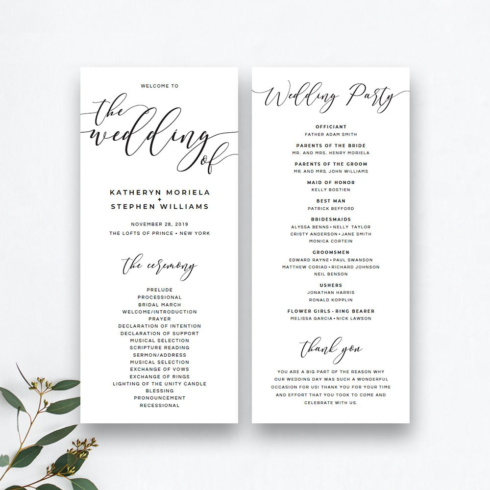 26 Wedding Ceremony Program Templates: Rustic Wedding Program Template Black And White Catholic