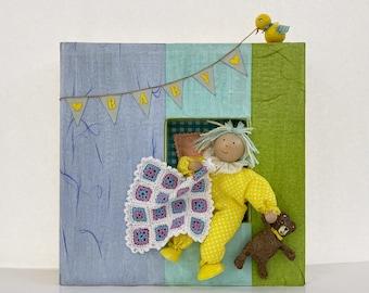 Baby room decor. Kids room wall art. Nursery art. Baby gift. Original mixed media art. Wall decor for boys or girls.