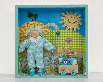 Baby room decor. Kids room wall art. Nursery art. Child's gift. Diorama art for children's playroom.