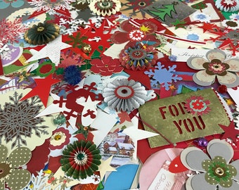 Eco friendly Christmas paper embellishments. Xmas paper ephemera. Junk Journal. Scrapbook. Card making supplies. Paper crafts. Ready to ship