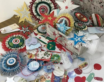 Christmas gift trimmings. Gift tags. Paper embellishments. Holiday cards. Paper ornaments. Wrapping paper. Upcycled. Recycled. Ready to ship
