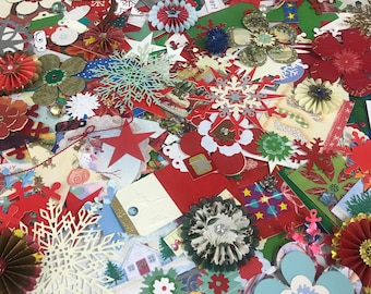 Christmas paper ephemera. Xmas paper craft supplies. Eco friendly paper embellishments. Card making. Holiday scrapbooking. Paper crafts.