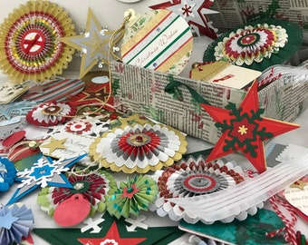 Christmas gift trimmings. Gift tags. Paper embellishments. Holiday cards. Papercraft decorations. Wrapping paper. Upcycled cards.