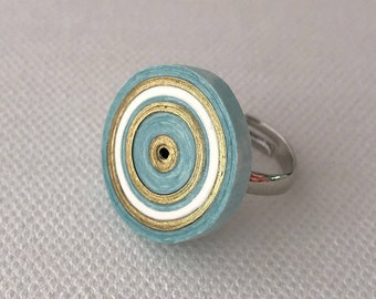 Quilling paper ring. Paper gift for her. Blue and gold ring. Ready to ship. Modern accessory. Eco friendly. Alternative fashion accessory.
