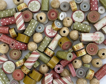 Christmas paper beads, 100 retro style beads, jewellery components, Christmas crafting, eco friendly bead assortment, paper crafting