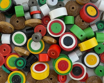 Paper beads, 100 bead assortment, eco friendly bead variety pack, jewellery components,  paper crafts inspiration kit