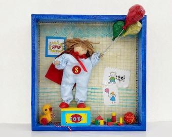 Baby room decor. Kids room wall art. Nursery art. Child's gift. Diorama art for children's playroom. Superman kids decor.