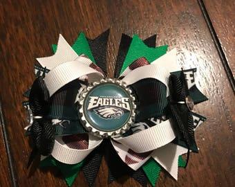 Philadelphia eagles hair bow