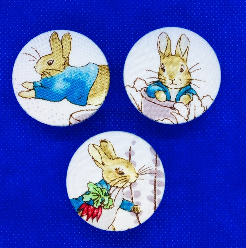 4 handmade 29mm Beatrix Potter Peter Rabbit Flopsy Bunny Fabric Covered Buttons