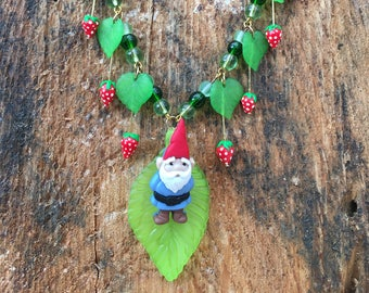 Gnome in the strawberry patch necklace
