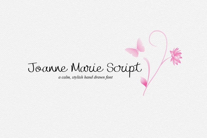 Calligraphy font Joanne Marie Script font elegant fonts Wedding font Can be  used for a photography logo Monogram design and lettering