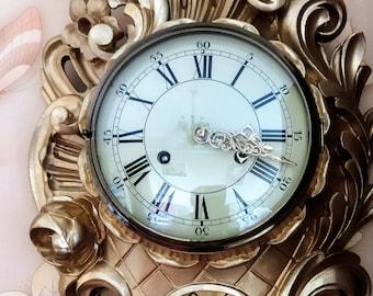 Pendulum wall clock, cartel, rococo style  (Часы настенные картель , стиль рокoко)