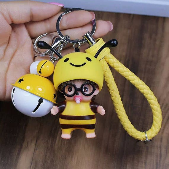 Used Alien Bees For Sale: Keychain Baby Keychain Bee Keychain Bell Key Chain Honey