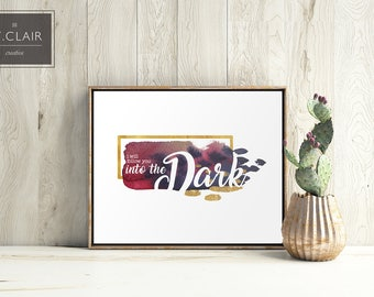 I Will Follow You Into the Dark- Death Cab for Cutie- Hip Trendy Home Decor Print- Song Lyric Art- Love- Gold- water color