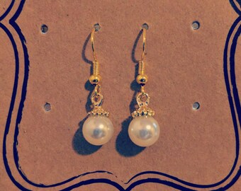 Hypoallergenic Gold Plated Pearl Earrings