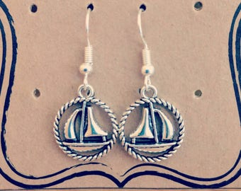 Silver Plated Sailboat Earrings