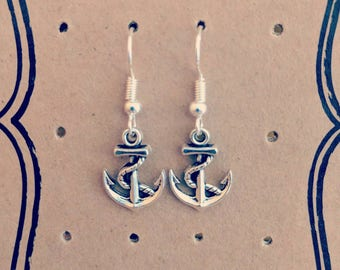 Silver Plated Anchor Nautical Earrings