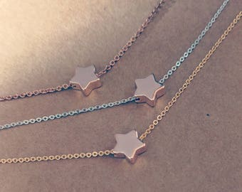 Rose Gold Silver Gold Dainty Chain Star Necklaces
