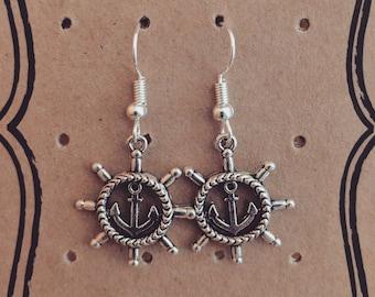 Anchor & Ship's Wheel Silver Plated Earrings