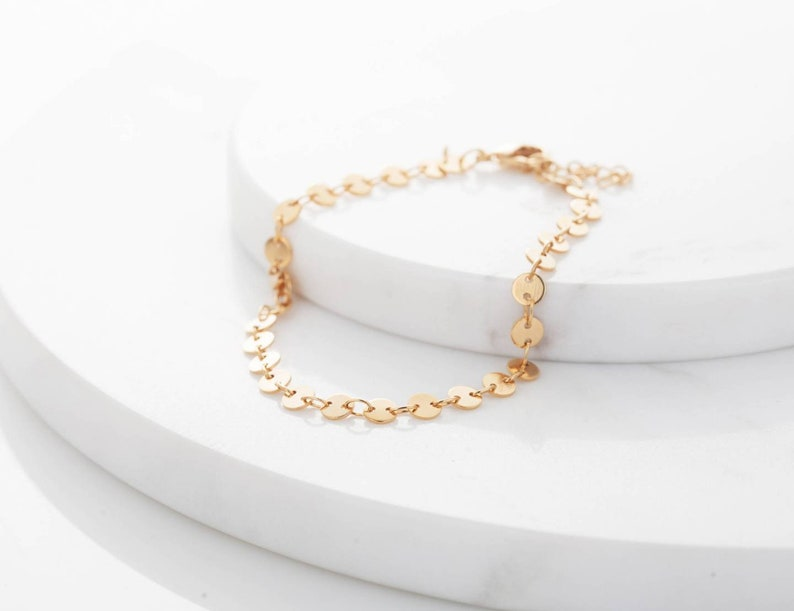 Gold Dot Anklet Round Circle Dots Holes