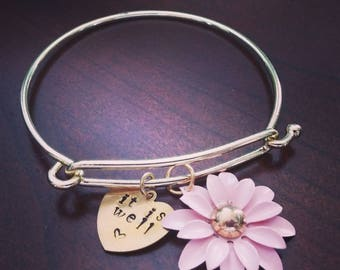 It is Well Gold Bangle Bracelet with Pink Flower