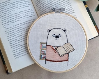 Mr Bear the librarian // modern hand embroidery // cute animal embroidery // wall decor for nursery, living room // Library // Reading Books