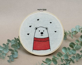 Mr Bear with red woolen sweater // modern hand embroidery // cute animal embroidery // wall decor for nursery. living room // hearts