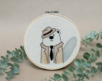 Mr Bear the Private Investigator  // modern hand embroidery // cute animal embroidery // wall decor for nursery. living room // detective