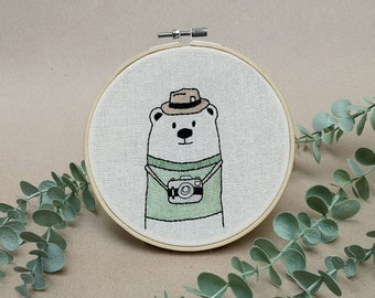Mr Bear the photo journalist // modern hand embroidery // cute animal embroidery // wall decor for nursery. living room // photographer