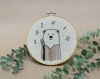 Mr Bear the jazz singer // modern hand embroidery // cute animal embroidery // wall decor for nursery. living room, entrance // musician