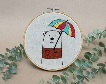Mr Bear with cute umbrella // modern hand embroidery // cute animal embroidery // wall decor for nursery. living room, entrance
