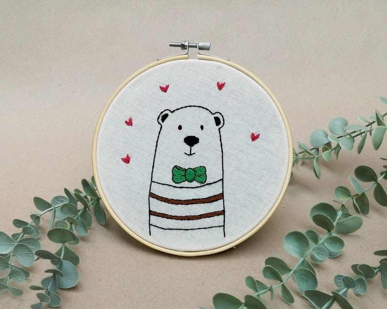 Mr Bear with a stylish bow tie // modern hand embroidery // image 0