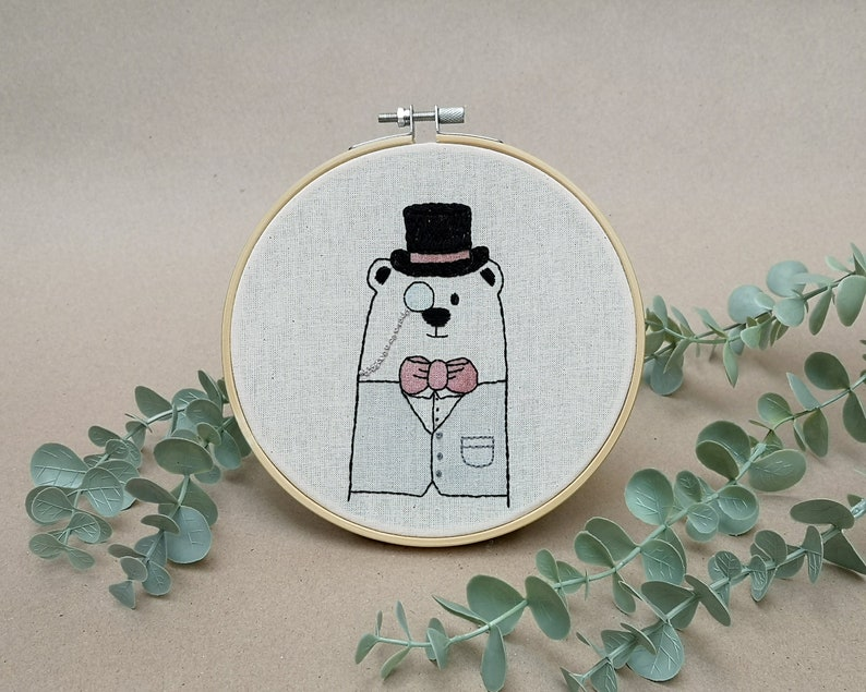 Mr Bear with a monocle // modern hand embroidery // cute image 0