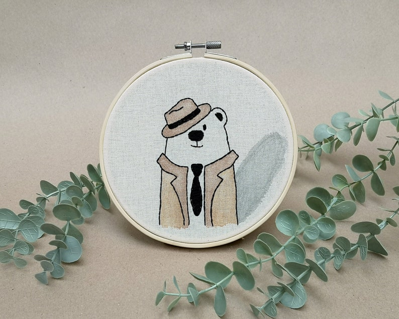 Mr Bear the Private Investigator  // modern hand embroidery // image 0